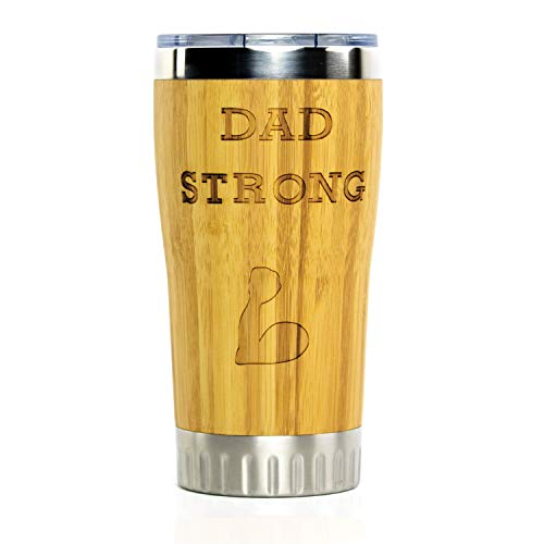 Dad Strong Stainless Steel Travel Coffee Mug with Spill Proof Lid | Bamboo Wrapped Cup w/Engraved Lettering | Comes in Gift Box | Best Dad Gifts, Father's Day, Christmas, Birthday from Daughter Son