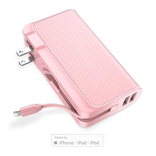 Luxtude Design-for-Trave 9000mAh 3-in-1 Portable Charger,?Foldable Wall Plug, Apple Certified Lightning Cable, Dual USB Output?Power Bank for iPhone, iPad and Android (Adapter Converter Optional) Pink
