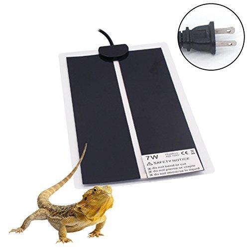 Reptile Heat Pad for Terrarium Moisture Proof Under Tank Heater Easy Clean Heating Mat 110 Volt 7 Watt 15×28 cm by Aiicioo