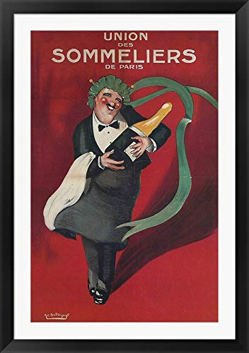 - Sommeliers Champagne Vintage Apple Collection Framed Art Print Wall Picture, Black Flat Frame, 34 x 48 inches