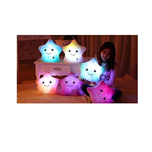HBOS Creative Glowing LED Night Light Twinkle Star Shape Plush Pillow Stuffed Toys with LED Night Light (Shape Animal Toy Model)