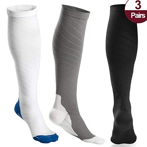 OXYVAN 3 Pairs Compression Socks Women and Men - Athletic Fit For Running,Travel,Recovery,Pregnancy & Medical ()
