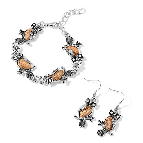 Shop LC Picture Jasper, White Crystal Black Oxidized Iron and Steel Owl Earrings and Bracelet Size 7.50