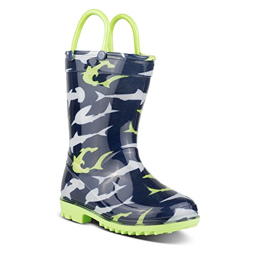 Zoogs Rain Boots For Boys & Toddlers - Sharks Rainboot, Pull Handles