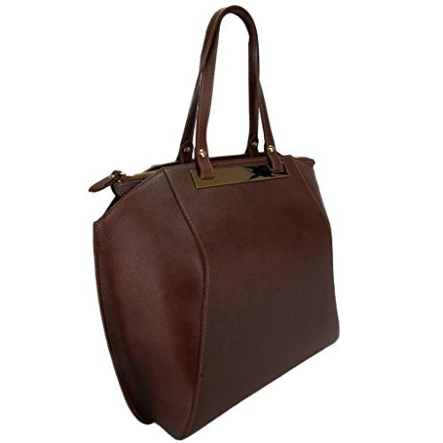 Pierre Cardin 4086 MORO Made in Italy Dark Brown Leather Large Tote