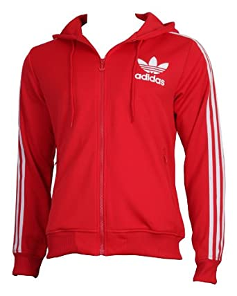 dae3850c0389c0 ADIDAS ORIGINALS ADICOLOR HOODED FLOCK TRACK TOP IN RED   WHITE (XL)   Amazon.co.uk  Clothing