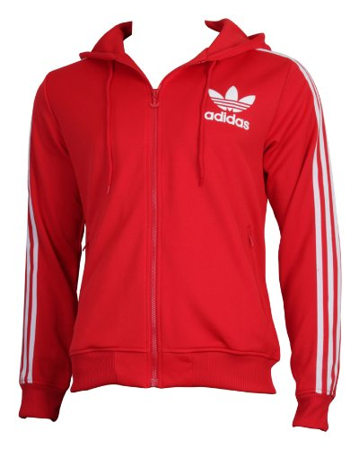 Adidas Originals Adicolor Hooded Flock Track Top In Red White Xl