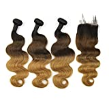 Ombre Brazilian Body Wave Human Hair Bundles with Lace Closure Remy Hair Weave 3 Bundles with Closure 1B/4/27 The rest of my life,12 14 16 & Closure12,Middle Part