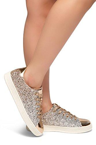 Herstyle Kvinna Ner För Dig- Platt Klack, Glitter Sneaker Med Spets Övre Steg Guld