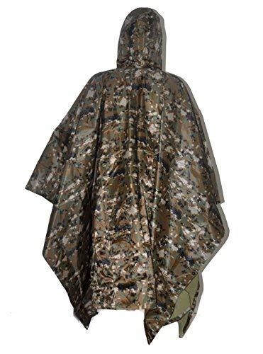ELLEN Multifunction Waterproof Raincoat Military Camouflage Poncho for Camping Tent Rain Cover Outdoor (Digital Woodland)