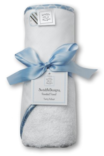 SwaddleDesigns Cotton Terry Velour Baby Hooded Towel, Pastel Blue Striped Fish