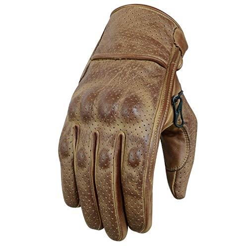 Motorradhandschuhe , Leder Motorradhandschuhen, Chopper Vintage Leder Handschuhe (L, Braun)