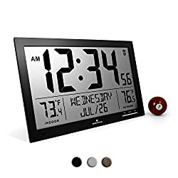 Marathon CL030066BK Slim Atomic Full Calendar Clock with Extra Large Digits and Indoor/Outdoor Temperature (Black) - Batteries Included