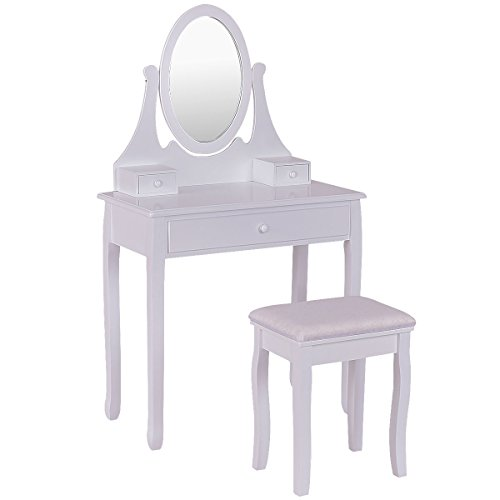 Giantex Bathroom Vanity Wooden Makeup Dressing Table Stool Set with Mirror and 3 Drawer (White)