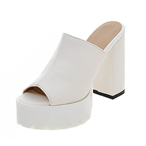 Peep White Moda Coolcept Tacón Mujer Ancho Sandalias Mules Toe ZwgXqP