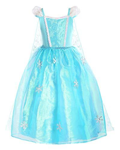 ReliBeauty Girls Princess Elsa Costume Organdie Snowflake Dress up, Puff Sleeve, 5/120
