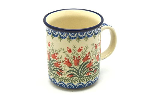 (Polish Pottery Mug - Straight Sided - Crimson Bells)