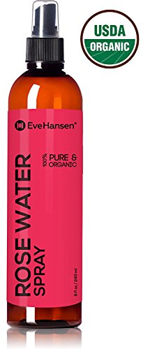 Organic Rose Water Spray By Eve Hansen - 1 Huge 8 Ounce Bottle! Pure Rosewater Toner with Uplifting Floral Scent. Facial Toner for Skin and Eyes That Helps Balance PH, Soothes Puffy Eyes, and Redness. Jasmine Water Mist