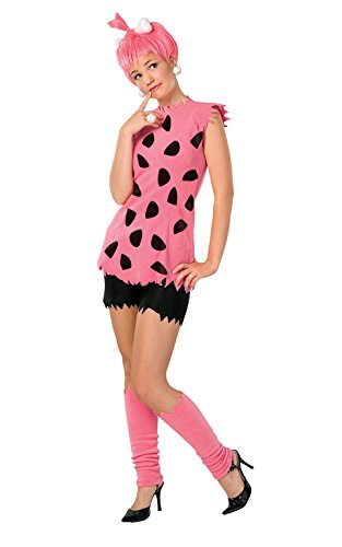 Pebbles Costume Halloween (The Flintstones Adult Pebbles Costume, Pink, Medium)