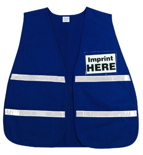 MCR Safety ICV203 Incident Command Polyester/Cotton Safety Vest with 1-Inch White Reflective Stripe, Blue
