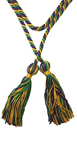 Three-Color Braided Honor Graduation Cords (Gold/Kelly Green/Purple)