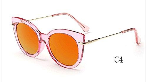 de ojo de Gafas UV400 de espejo sol gafas C4 gato de Gafas 025 de Sunglasses 025 caramelo tonos C7 mujeres de TL sol qtAIEE