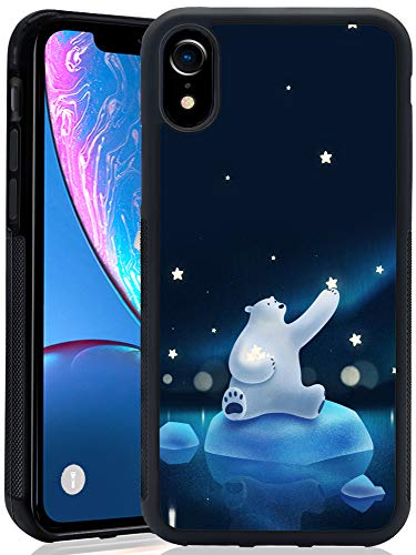 Airando Black Anti-Slippery Polar Bear Polaris Design Pattern iPhone Xr Case,Soft TPU+Hard PC Shock-Absorption Case for iPhone Xr ()