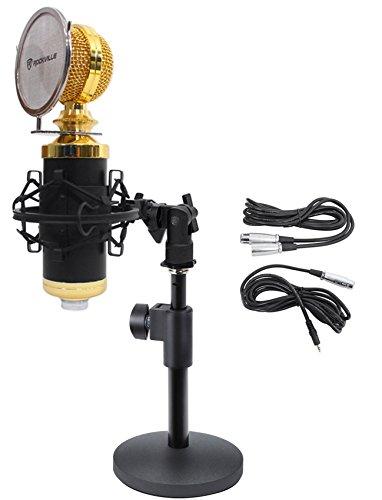Rockville RCM02 Studio Podcast Recording Microphone+Samson Desktop Mic Stand by Rockville