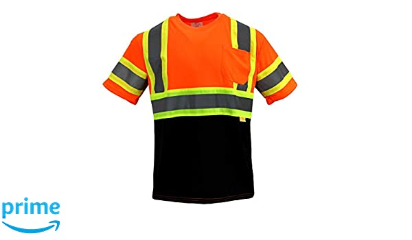 TS-BFS-T5511 High-Visibility Class 3 T Shirt with Moisture Wicking Mesh Birdseye M, Orange Black Bottom Pack of 3