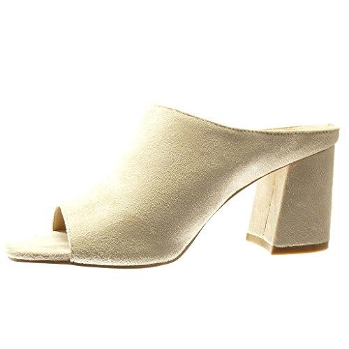 e103bae89f3835 Angkorly - Chaussure Mode Mule Sandale femme Talon haut bloc 8.5 CM - Beige  ...