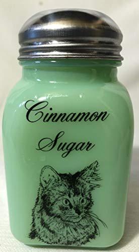 Stove Top Cinnamon Sugar Shaker - w/Somali Cat - Jade Jadeite Jadite Green Glass - Mosser USA- USA