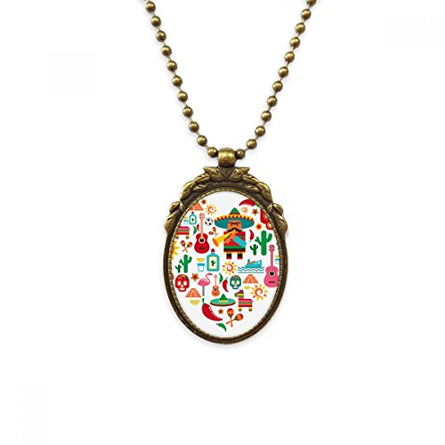 Sombrero Suger Skull Mexico Mexican Flamingo Antique Brass Necklace Vintage Pendant Jewelry Deluxe (Flamingo Antique Brass)