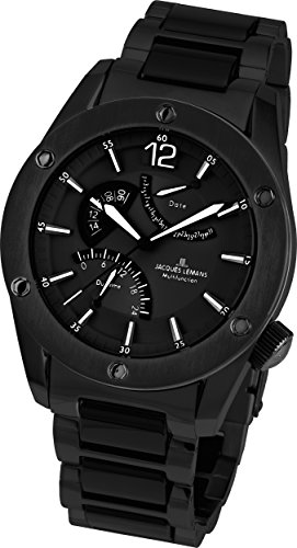 Jacques Lemans Lugano 1-1739H 46mm Ion Plated Stainless Steel Case Black Steel Bracelet Mineral Men's Watch
