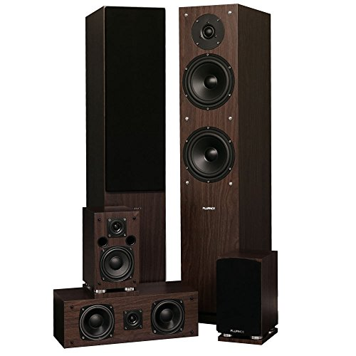(Fluance SXHTBW High Definition Surround Sound Home Theater 5.0 Channel Speaker System Including Floorstanding Towers, Center and Rear Speakers (Natural Walnut) )