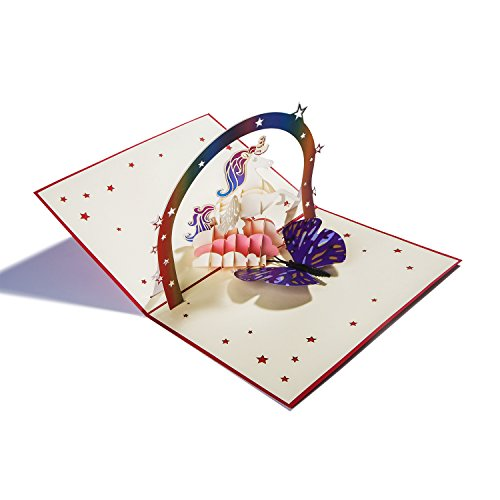 - Pop Up Card Birthday Card Gift Card, 3D Unicorn Handmade Greeting Card with Envelope for All Occasions(7.9