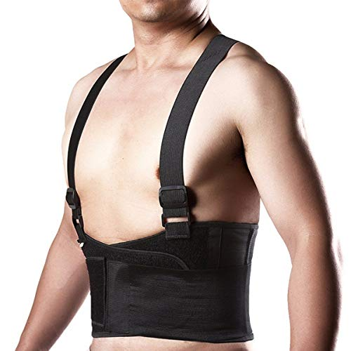 CFR Back Brace with Double Pull Breathable Lumbar Support with Adjustable Suspenders Removable Shoulder Straps for Men and Women,Black,M