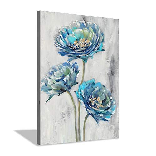 Abstract Floral Canvas Wall Art: Blue Flowers Artwork Painting Print Picture for Bathroom (12