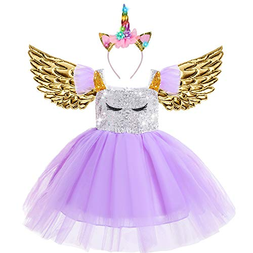 Beauta Unicorn Costume Cosplay Princess Dress up Birthday Pageant Party Dance Outfits Evening Gowns  (2-3 Years(Tag 100), Purple) -