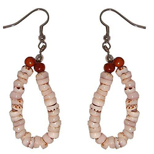 (Hawaiian Jewelry Tiger Puka Shell Hoop Earrings with Koa Wood Beads)