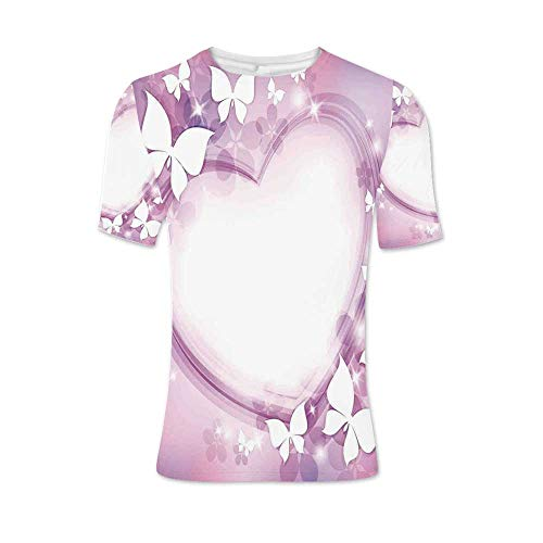 Room Decor Fashionable T Shirt,Magical Pink Butterfly Fairy Heart Romantic Love Violet Wedding Themed Girls Art Print for Men,XXL - Butterfly T-shirt Fairy