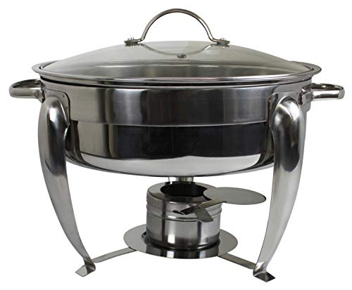 - Royal Brands Stainless Steel Chafing Dish with Glass Lid | 5 Quart | Round Buffet Chafer
