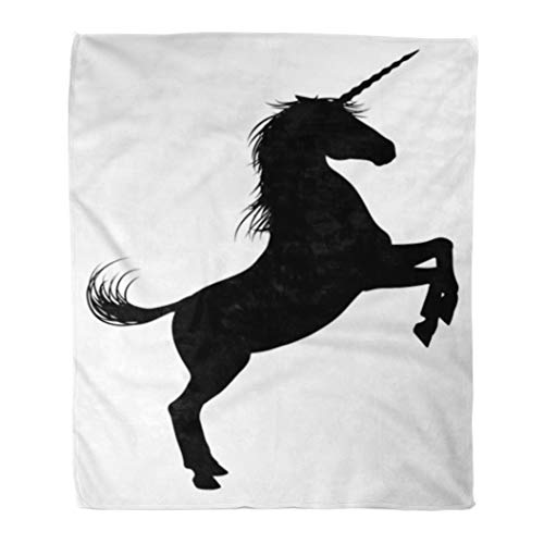 (Emvency Flannel Throw Blanket Black Unicorn Mythical Horse in Silhouette Rearing Standing on Hind Legs Heraldic 50x60 Inch Lightweight Cozy Plush Fluffy Warm Fuzzy Soft)