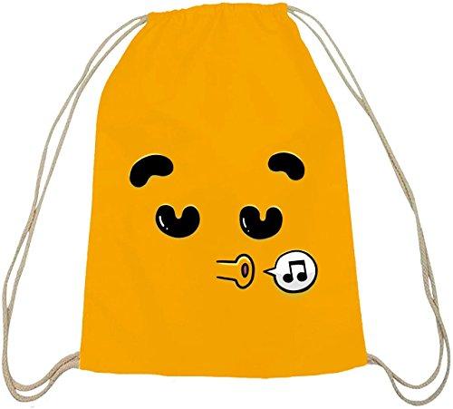ShirtStreet Lustiger Cartoon Emoji natur Turnbeutel mit Funny Faces - Singing Motiv Gelb Natur