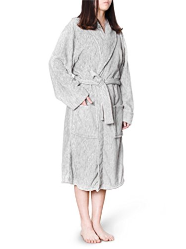Women Plush Warm Soft Fleece Robe | Shawl Collar Luxurious Microfiber Lightweight Bath Spa Robe