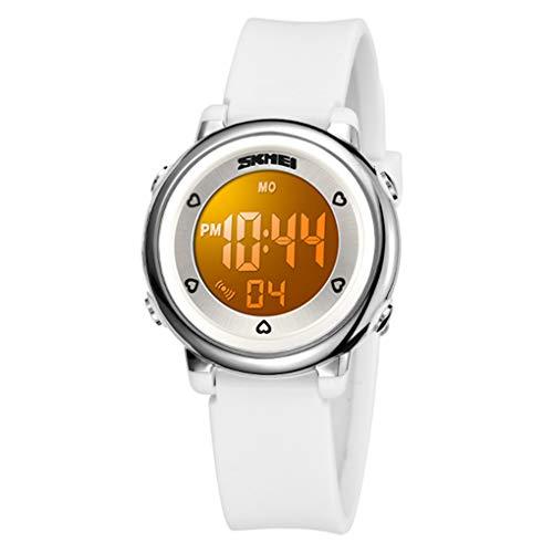 WUTONYU(TM) Children Digital Watch Kids Boy Girls LED Alarm Stopwatch Waterproof Wristwatches(White)