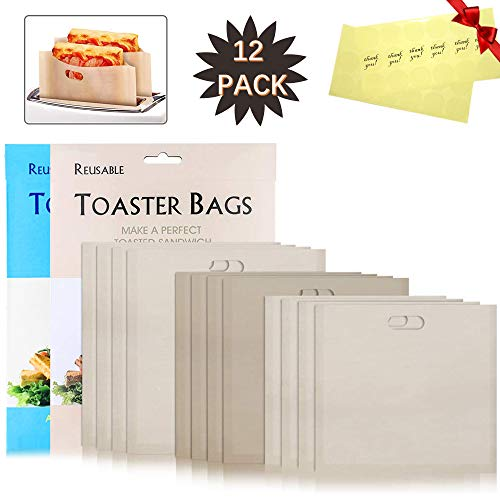 Grilled Cheese Sandwiches Toaster Bags - Non Stick Reusable Heat Resistant Easy to Clean, Gluten Free, FDA Approved; Be used for Toasters, Ovens, Microwaves