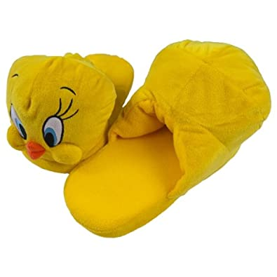 new arrival 3406a 1e5c3 Old Glory Looney Tunes - Tweety Big Face Plush Slippers - Medium Yellow