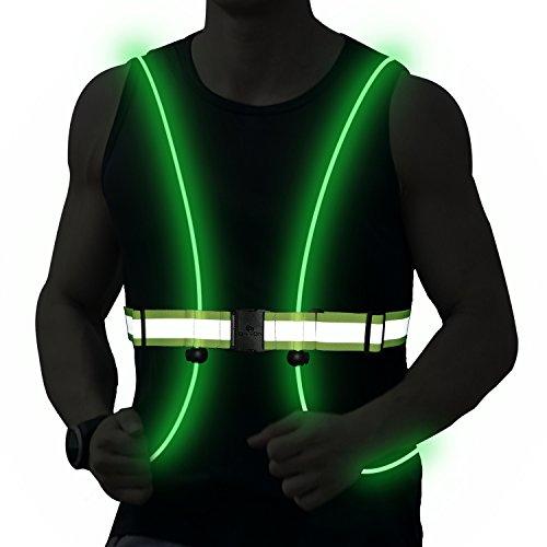 DoerDo Reflective Safety Fiber Led Vest Belt Constant Strobe Light 3 Model Running, Cycling, Snowboarding - Adjustable, Lightweight Men, Women Kids]()