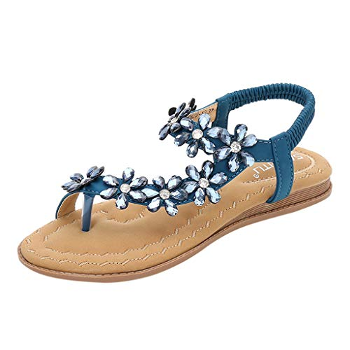 ◕‿◕Watere◕‿◕ Women's Elastic Sparkle Flip Flops Summer Beach Thong Flat Sandals Shoes Summer Bohemia Clip Toe Sandals Blue ()