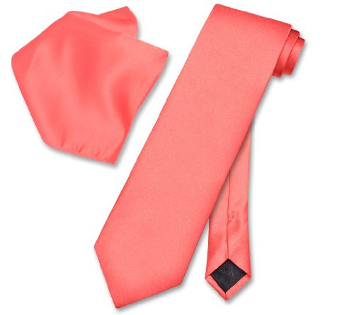 Vesuvio Napoli Solid CORAL PINK Color NeckTie & Handkerchief Mens Neck Tie Set